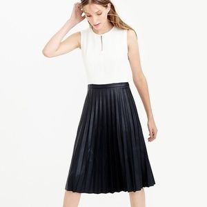 J. CREW 2 Tone Faux Leather Pleat Fit Flare Dress